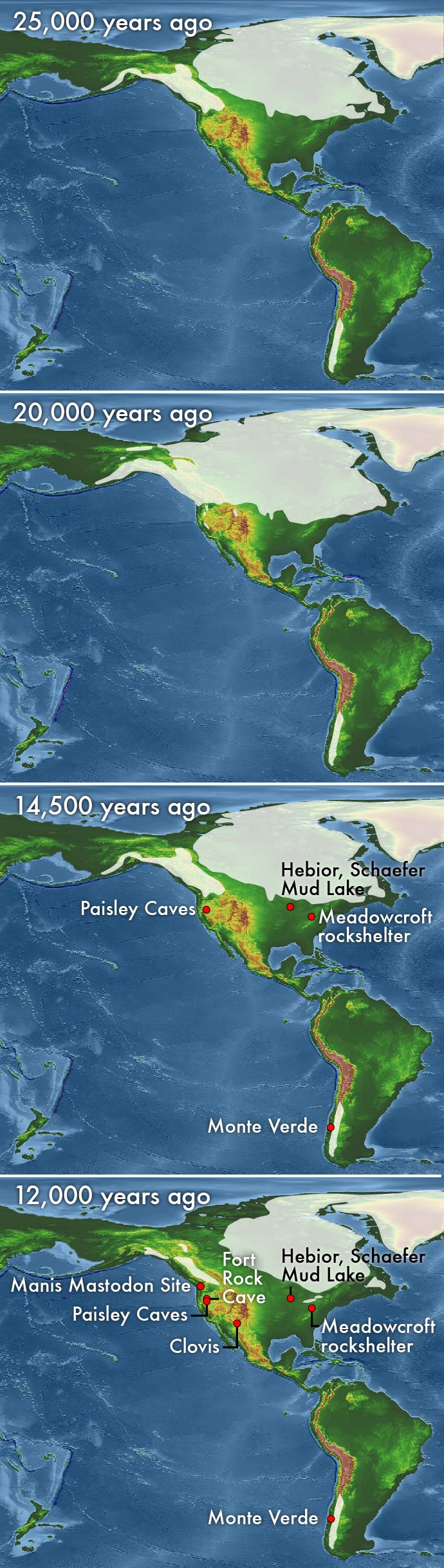 This series of maps shows the generalized glacial extent in North America as the Cordilleran and Laurentide ice sheets waxed and waned. From top to bottom, the maps show ice extent at about 25,000 years ago, 20,000 years ago, 14,500 years ago and 12,000 years ago. Credit: basemap by NOAA NGDC; modified by Kathleen Cantner, AGI.