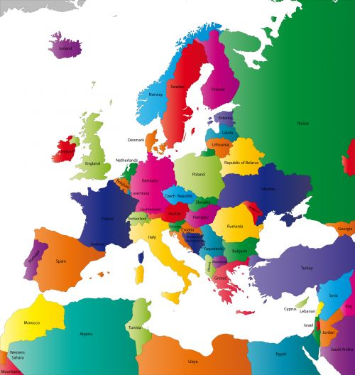 Map of the Continent of Europe with Countries  #Geography #maps #countries #continent #Europe