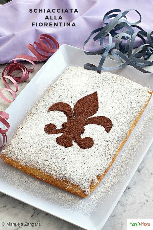 Schiacciata alla Fiorentina – a very simple and moist cake typical of the city of Florence and usually eaten for Mardi Gras. This cake is amazingly soft and its characteristic yellowish colour is given by the orange juice and zest used in the batter.