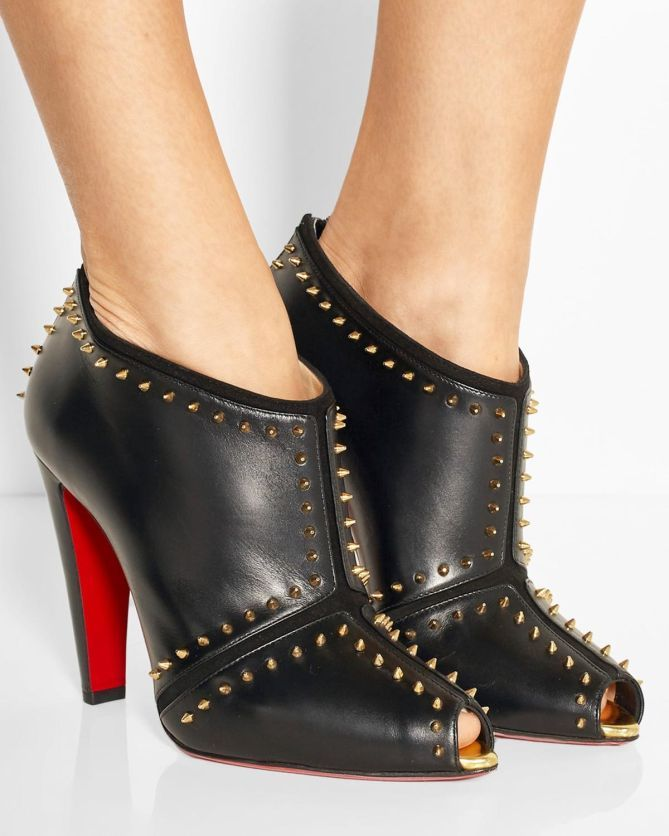 Christian Louboutin Spiked Ankle Boots Fake Red Bottom Heels