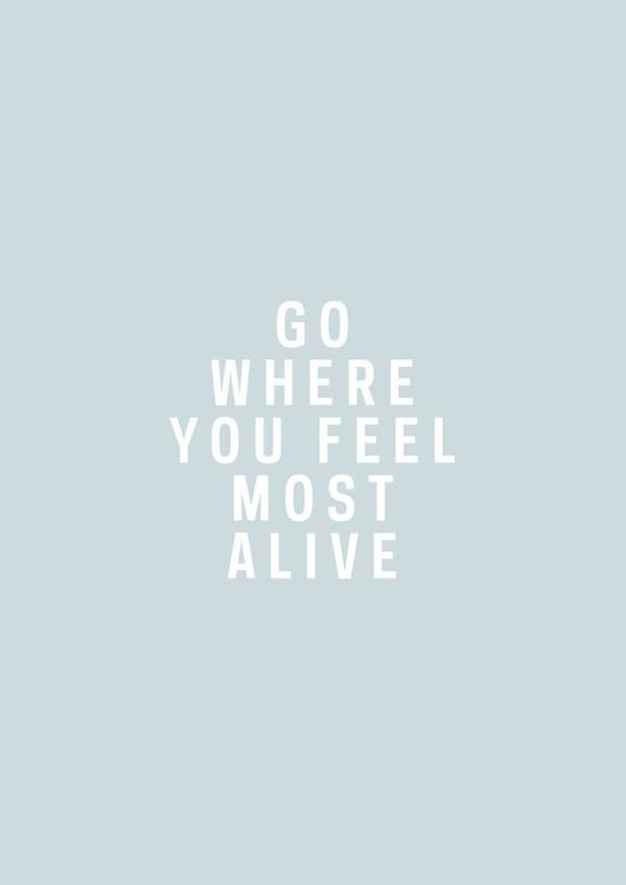 .Go where you feel the most alive. Words to live by