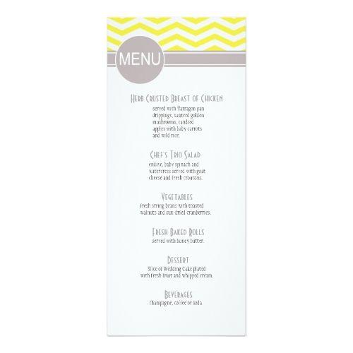 Simple Wedding Reception Chic Chevron Dinner Menu | yellow Card
