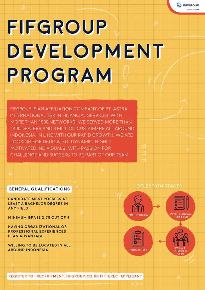 JOIN! #vacancy from FIFGroup as FIFGroup Development Program for candidate with bachelor degree in any field >> http://bit.ly/2CRUuI3   DEADLINE: 11 February 2018 #itbcc #karirITB #ITBcareer