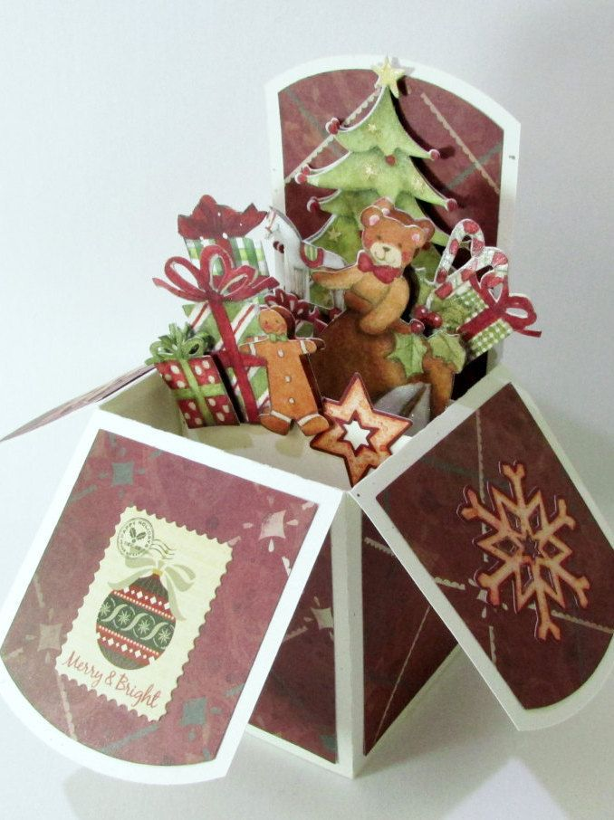Christmas Pop Up Cards, 3D Card In Box, Vintage Victorian Santa ...