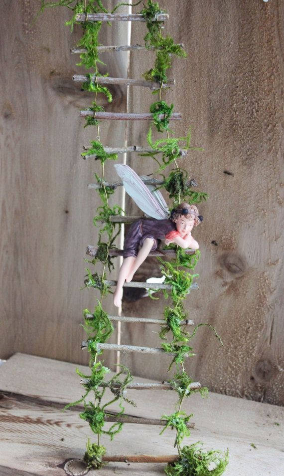 Fairy Ladder by Olive ~ Measures 24 inches in Length in Photo. Ladder can bend to reach any whimsical location. Also Available in the following lengths: 12 $13.50 16 $15.50 20 $17.50 24 $19.50 30 $24.50 36 $36.50 Custom sizes between 20 and 36 inches please send private message for pricing and private listing! This ladder is an enchanting addition to Fairy Windows! Find Olive Nature Folklore under the following search terms: fairy garden kit miniatures for fairy gardens fairy garden...