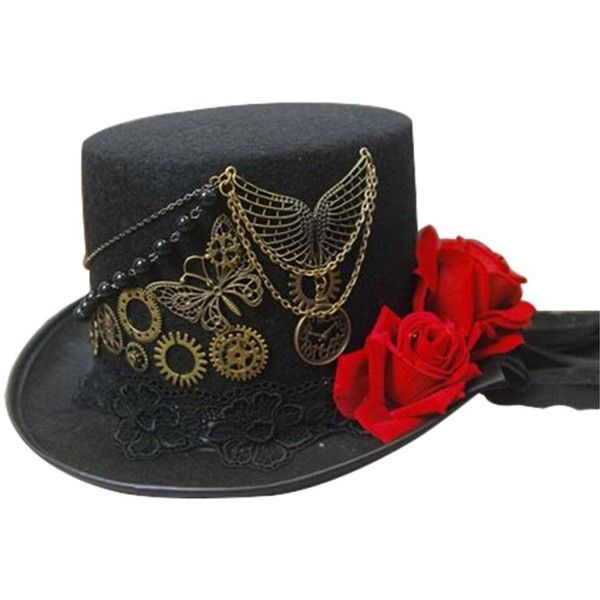 COSTYLE Women's Steampunk Victorian Top Hat Costume Accessory ($29) ❤ liked on Polyvore featuring accessories, hats, steam punk hats, victorian hats, steampunk hat, victorian top hat and top hat