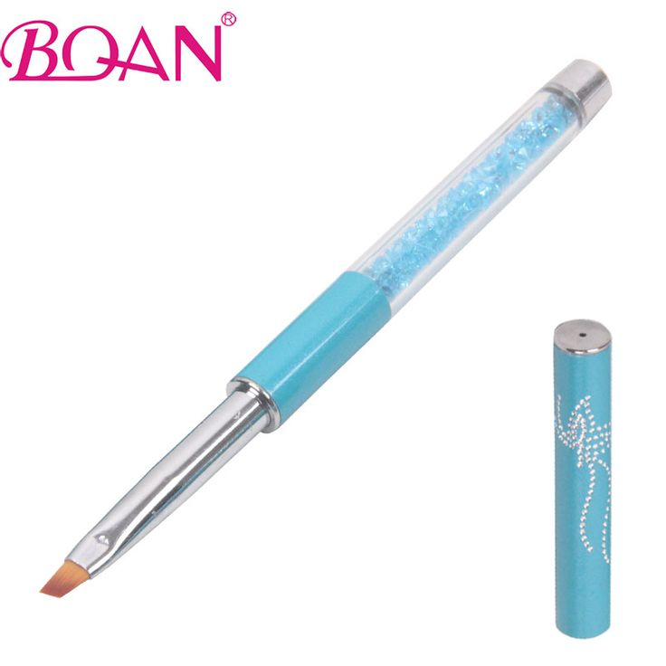 BQAN Free Shipping  4#  Professional Nail Art Brush Pen Turquoise Metal Handle Nail Sable Brush Oblique Tip Nail Brush