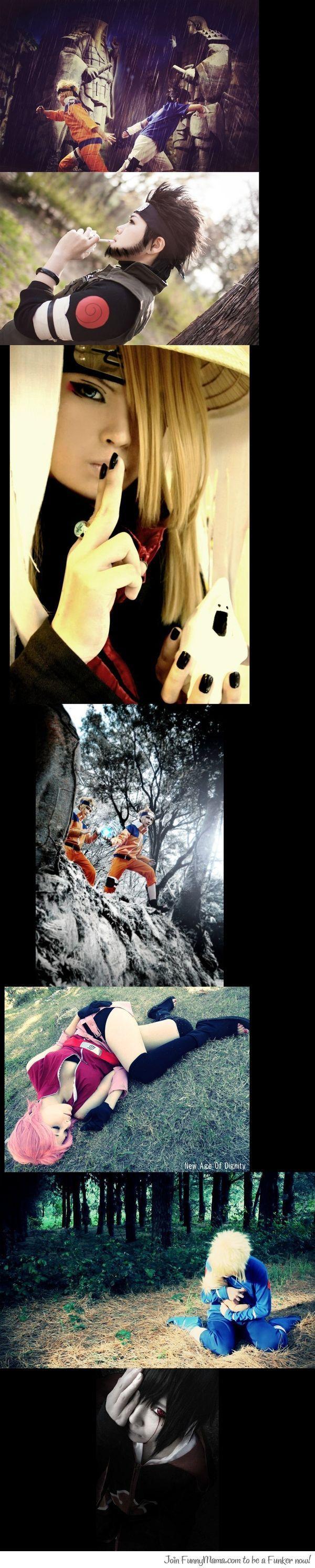 Naruto Cosplays- top to bottom: Naruto and Sasuke, Master Asuma, Deidara, Naruto, Sakura, Minato and Baby Naruto, Sasuke.