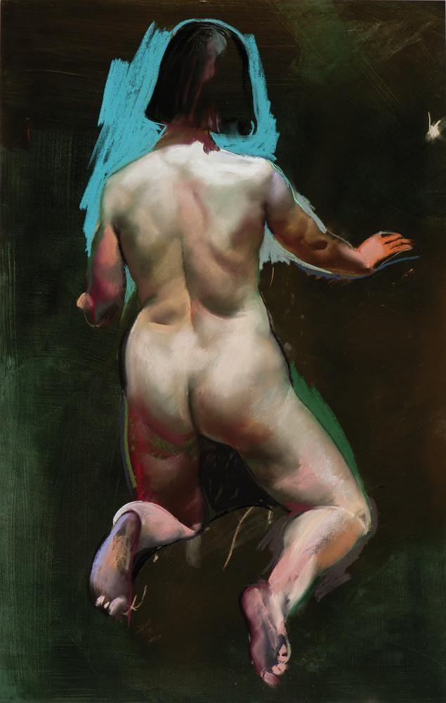 Csernus, Tibor, Back of a Kneeling Nude, Undated, Pastel , Paper