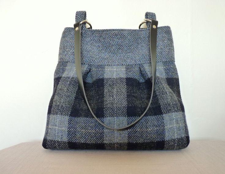 Tote Bag \u2013 Blue /& Grey Check Shoulder Bag Harris Tweed Bag