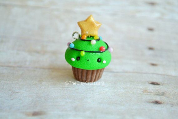 Kawaii Christmas Tree Cupcake - Charm, Polymer Clay Charm, Jewelry, Food Jewelry, Christmas, Holiday, Seasonal, Pendant, Cute