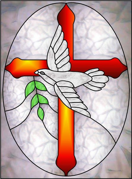 Stained Glass Crosses | Dove Cross a Decorative Window Film