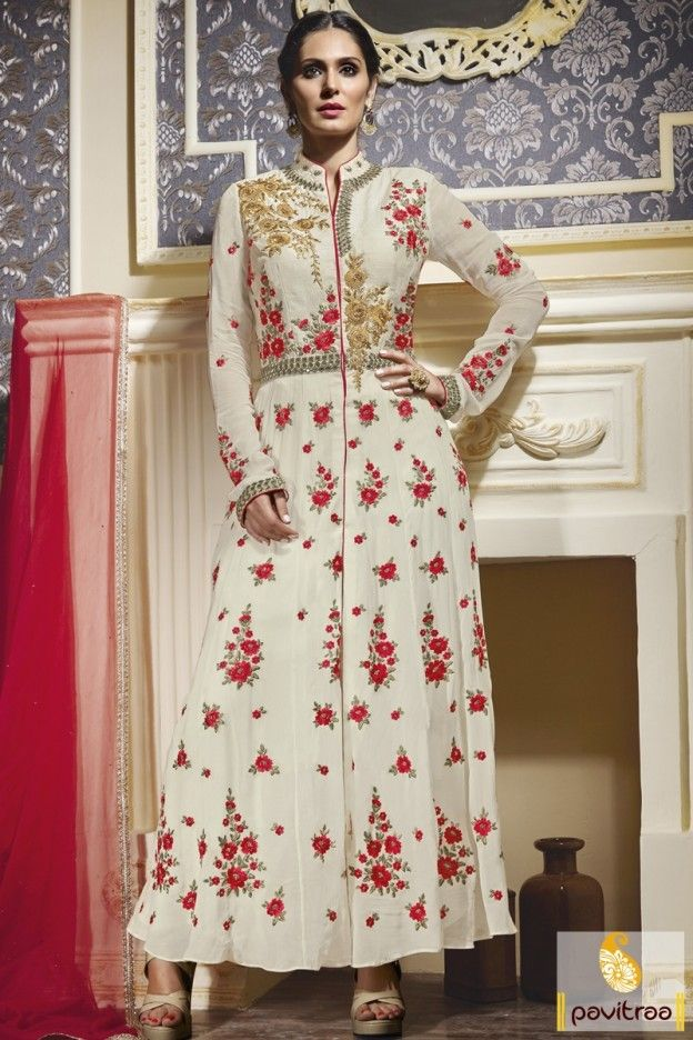 Desi boyz song subha hone na de and comedy film actress bruna abdullah salwar kameez in cream and red color which is designed with stylish embroidery pattern. #bollywoodactressanarkalisuit #partywearanarkalisuit #weddinganarkalisuit #latestanarkalisuit More: http://www.pavitraa.in/catalogs/actress-bruna-abdullah-designer-anarkali-dresses/?utm_source=hp&utm_medium=pinterestpost&utm_campaign=15july