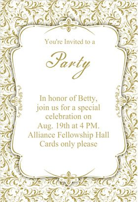 Gold Ornaments Printable Invitation Template Customize Add Text And Photos Print Or Download For Free
