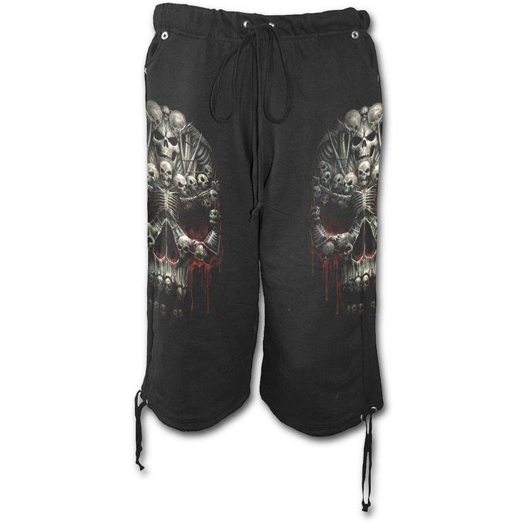 Mens DEATH BONES Long Fleece Shorts Black Shop Online From Spiral Direct, Gothic Clothing, UK