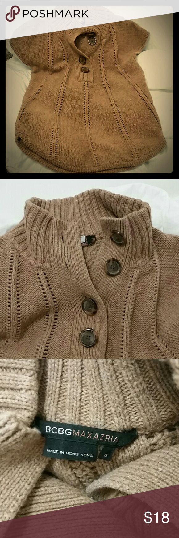 BCBG Max adorable short sleeve brown sweater Excellent condition cozy brown sweater with large (faux) tortoiseshell buttons. Super flattering lines. BCBGMaxAzria Sweaters