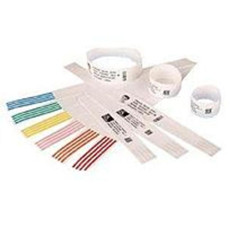 Zebra Z-Band QuickClip 10007000K Wristband Thermal Label for HC100 Thermal Printer - 260 Labels/Roll - Black, White