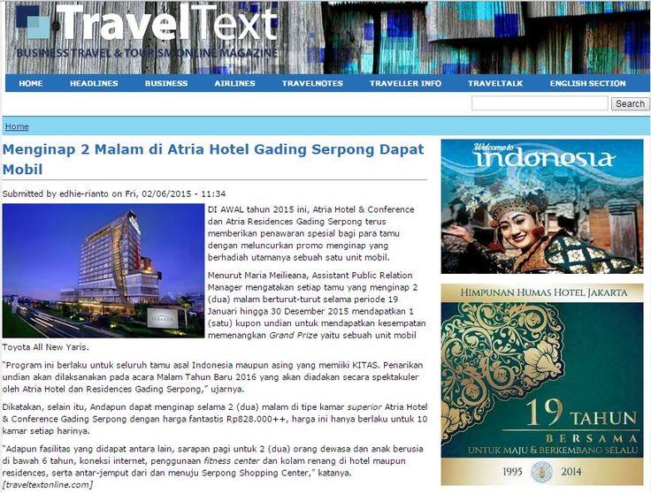 Menginap 2 Malam di Atria Hotel Gading Serpong Dapat Mobil - 6 February 2015 http://traveltextonline.com/hotel/menginap-2-malam-di-atria-hotel-gading-serpong-dapat-mobil