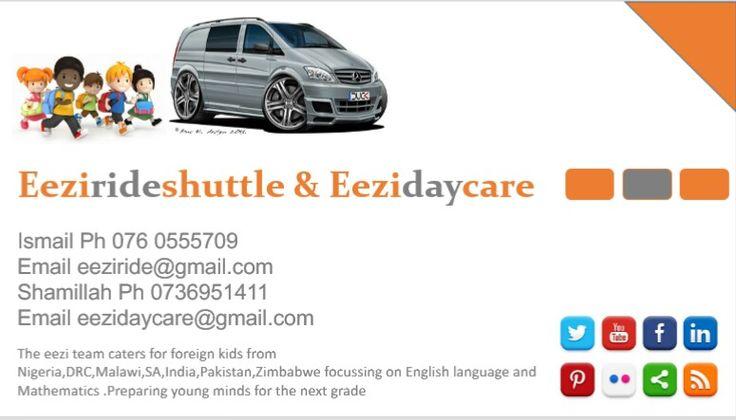 Eezirideshuttle and Eezidaycare find us on Facebook or Google plus