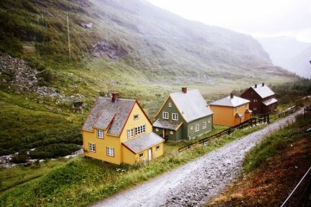 Beautifully painted cottages in the remote village of Myrdal, Norway /  Photographed by Clara Örh