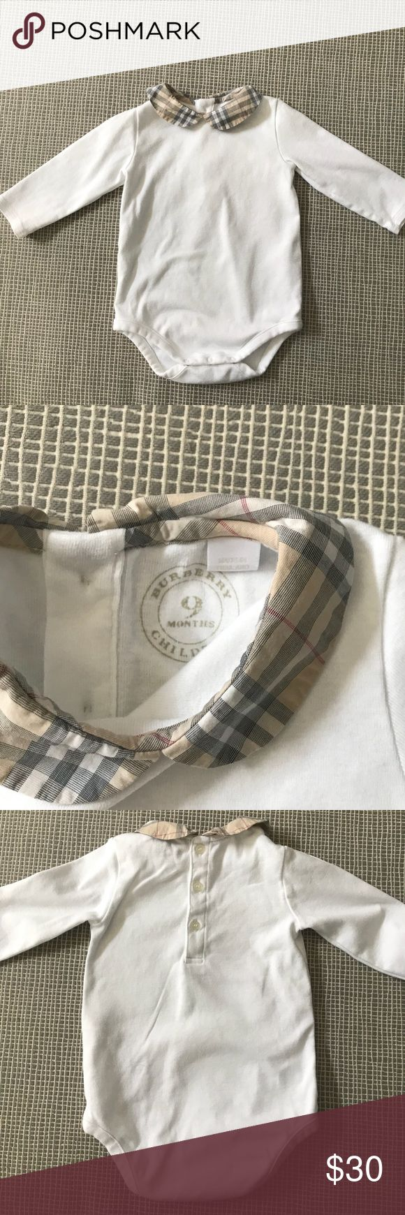 Burberry Baby Girl Top Precious Burberry Baby Girl Top in great pre-owned condition! Slight stain near bottom as seen in last picture. Would not show if worn with skirt, shorts, or pants. Burberry Shirts & Tops
