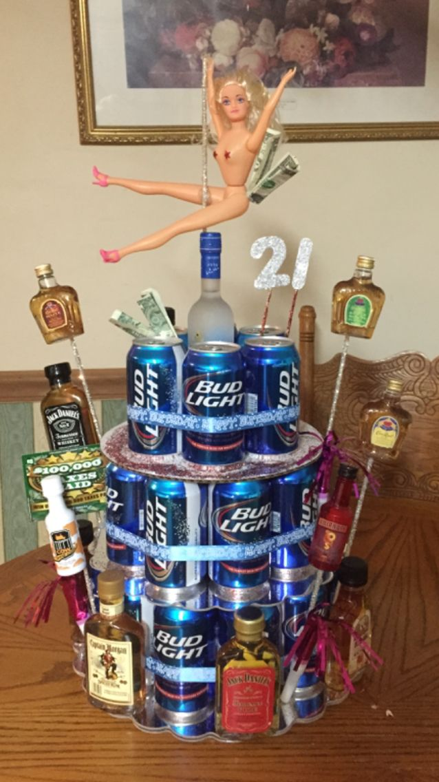 Beer can cake for 21st birthday