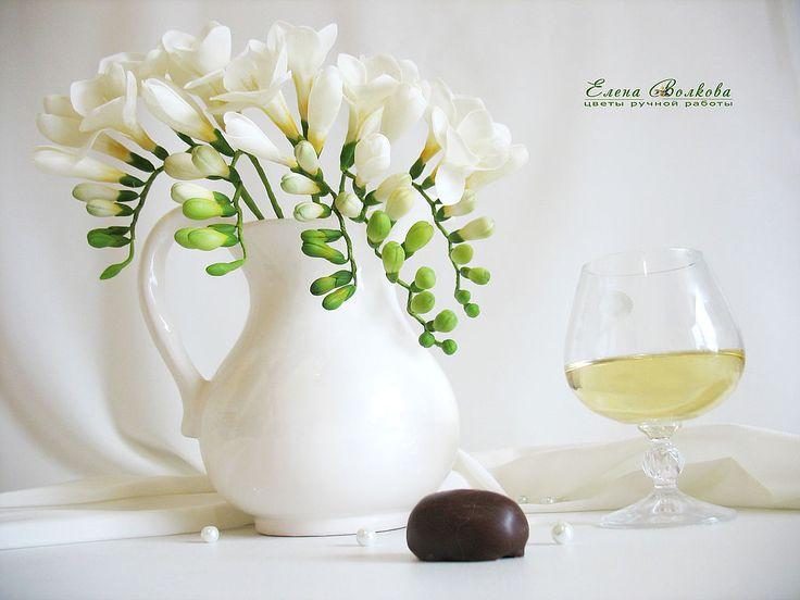 """Купить Букет фрезий """"Освещённая Луной"""". - цветы из полимерной глины, цветы ручной работы, фрезия"""