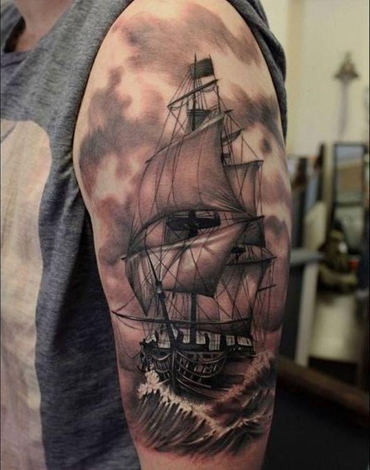 Pirate Ship Tattoo Sleeve
