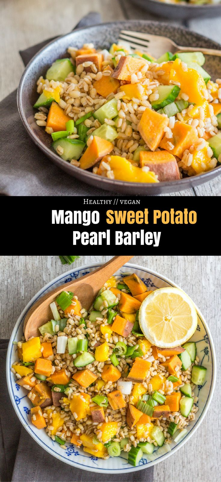 This Mango Sweet Potato Pearl Barley salad requires only 8 ingredients and is simple to make, fresh, filling, super healthy, and SO delicious.  Healthy vegan dinner | healthy vegan lunch | healthy dinner | healthy lunch | dinner | lunch | recipes | vegan recipes | salad | mango
