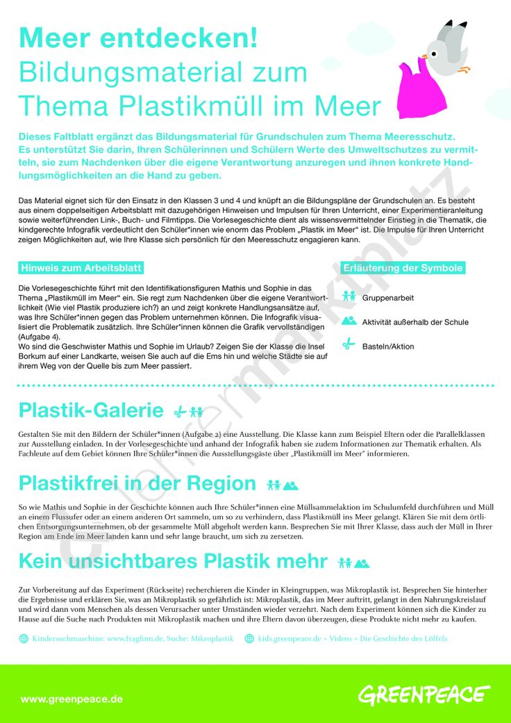 Bildungsmaterial Meeresschutz (Ergänzungsblatt): Meer entdecken! Plastikmüll im Meer (Klasse 3-4) - Seite 1