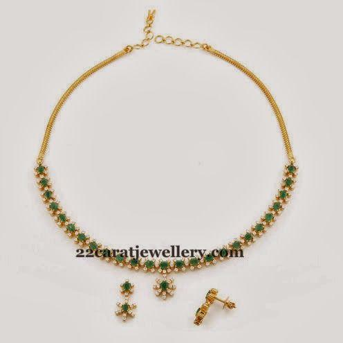 Jewellery Designs: Emerald Diamond Thin Necklace
