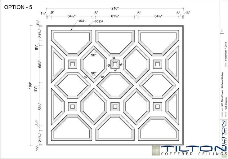 Coffered Ceiling Design Drawing - Bespoke 09