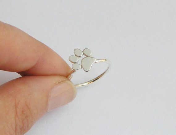 Products for Dog Lovers | Paw Print Ring Sterling Silver Cat or Dog by DaliaShamirJewelry