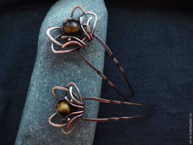 Изготавливаем парные шпильки-цветочки в технике wire wrap - Ярмарка Мастеров - ручная работа, handmade