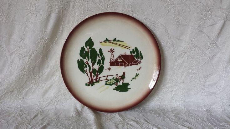 """Vintage California Brock China Heritage Brown Dinner Plate 11"""" #Brock"""