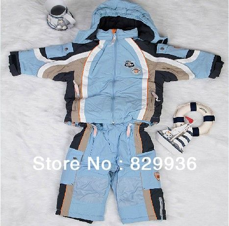 Free Shipping Children Clothing Set Ski Suit Boy Gilr Cotton-Padded Snowboard Jacket +Pants Child Wadded Kids Outdoor Sets $85.86 - 109.06