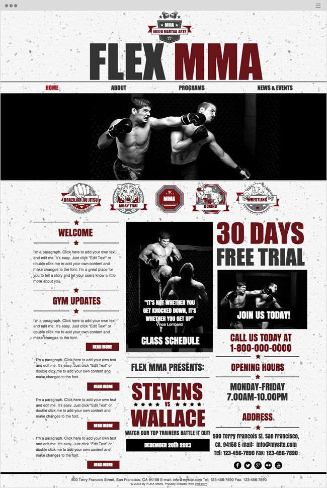 Free Martial Arts Websites Templates