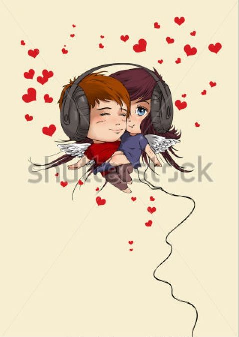 Valentines Day - being in love #valentine #holiday #love #illustration #postcard #greeting