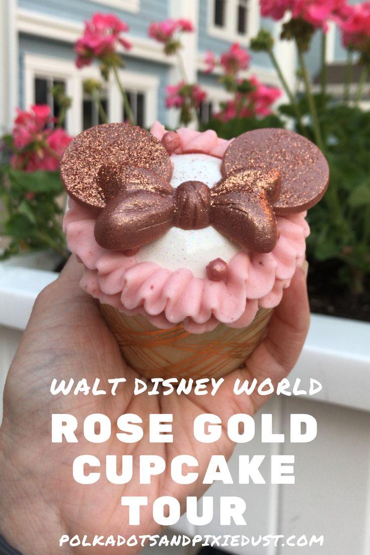 Rose Gold Cupcakes at Walt Disney World #rosegoldcupcakes #wdwfoodie #disneyrosegold #polkadotpixies