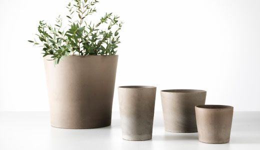 MANDEL SERIES plant pots from Ikea. Cement-ish, without being cement. Bunches of sizes.