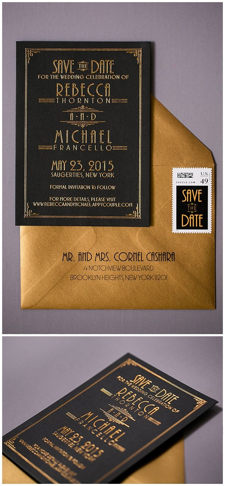 Art deco save the dates are a gorgeous way to get your guests excited for any art deco event. Printed with gold foil, these black save the dates where mailed in gold envelopes. Click to see all of the details or PIN to save for later!
