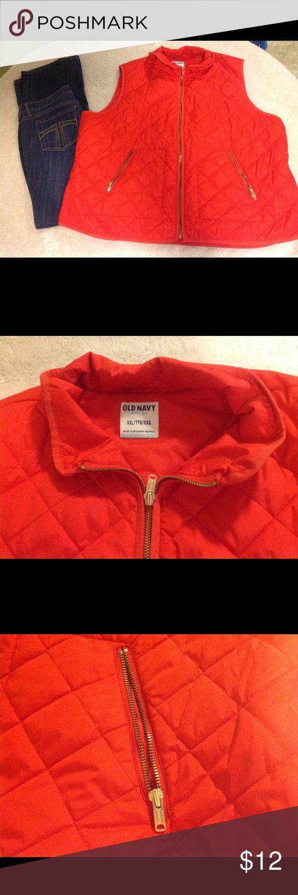 Old Navy vest XXL Old Navy vest size XXL. It is orange. Gold color zipper front and zipper pockets. 100% polyester. Good condition Old Navy Jackets & Coats Vests