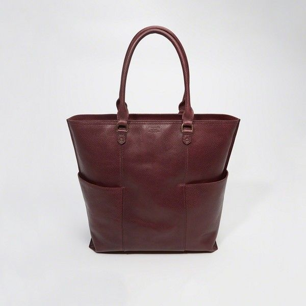 Abercrombie & Fitch Leather Tote (195 CAD) ❤ liked on Polyvore featuring bags, handbags, tote bags, maroon, laptop purse, zip top tote bags, genuine leather tote bags, leather tote and zip top tote