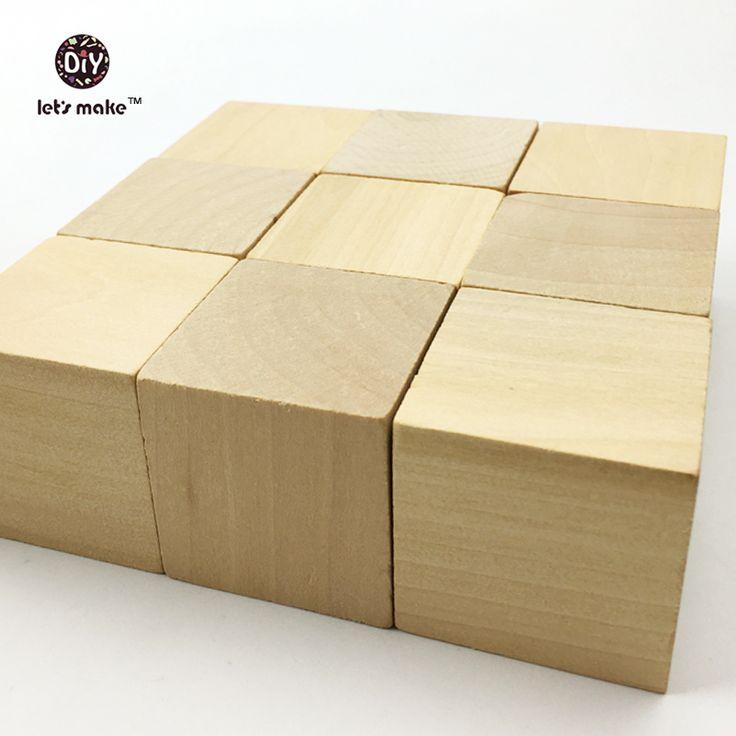 Laten we Unfinished Houten Blok Cube carving Hout Building Houten Blok Maria Montessori Baby Educatief Speelgoed Kralen(China (Mainland))