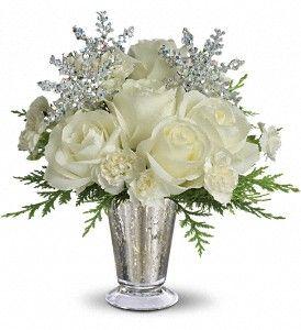 White Arrangement In Silver Vase Winter Wedding Flowerswinter