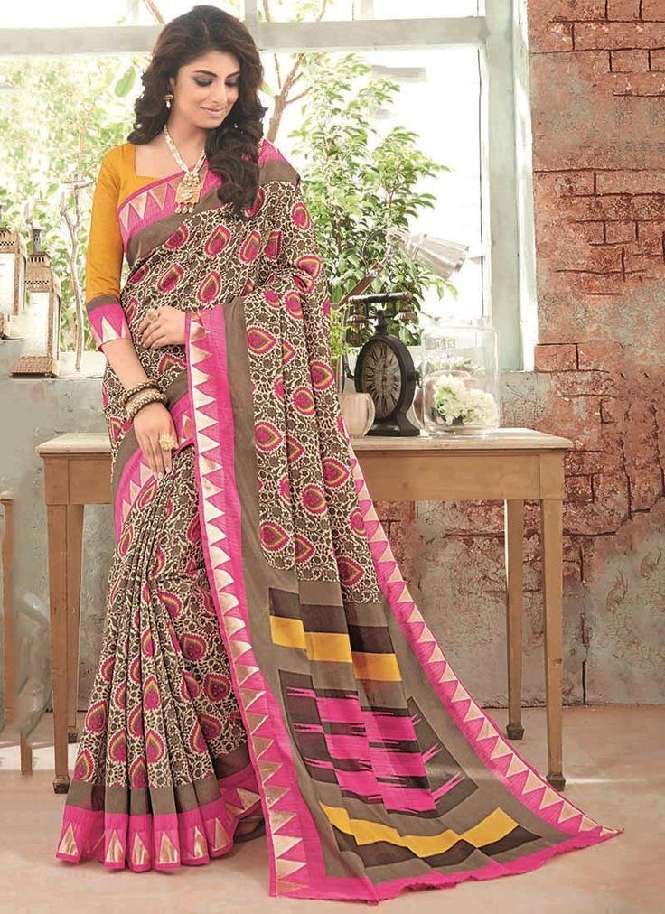 Superlative Multi Colour Print Work Art Silk Casual Saree