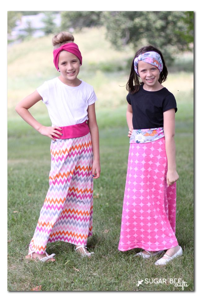 girls learn to sew maxi skirts - Sugar Bee Crafts