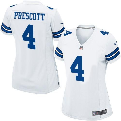 #Nike Cowboys #4 Dak #Prescott White Women's #Stitched #NFL Elite #Jersey #Womenprescott #4DakPrescott #Football #NikeJerseys #Googlejerseys