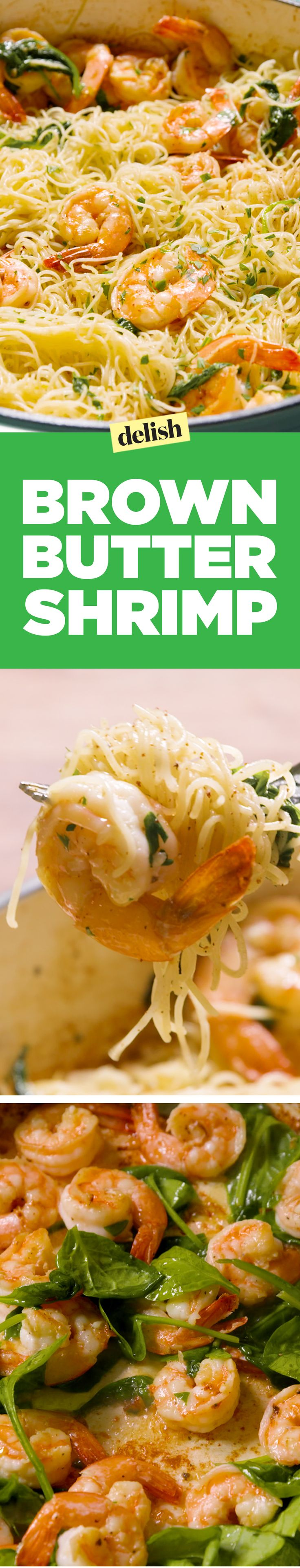 Brown butter shrimp with angel hair pasta tastes like heaven. Get the recipe on Delish.com.