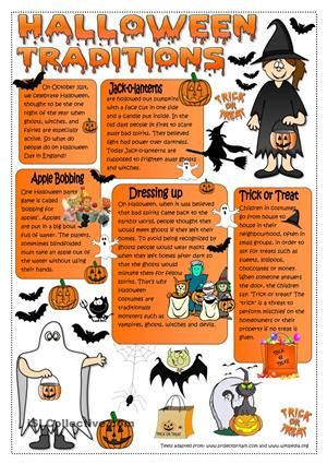 A reading on Halloween traditions followed by some comprehension and personal experience questions. Hope you like it. Hugs mada :) - ESL worksheets